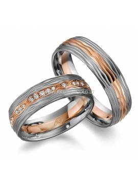 "WEDDING RINGS ""TWO COLORS WAVES"" (without diamonds)"