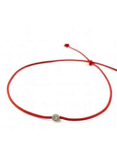 Laimę nešantis raudonas siūlas su deimantu (baltas auksas)