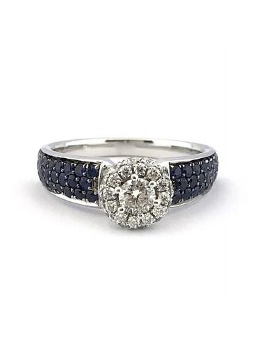 """Sužadėtuvių žiedas su safyrais """"Lyg jūros banga"""""""