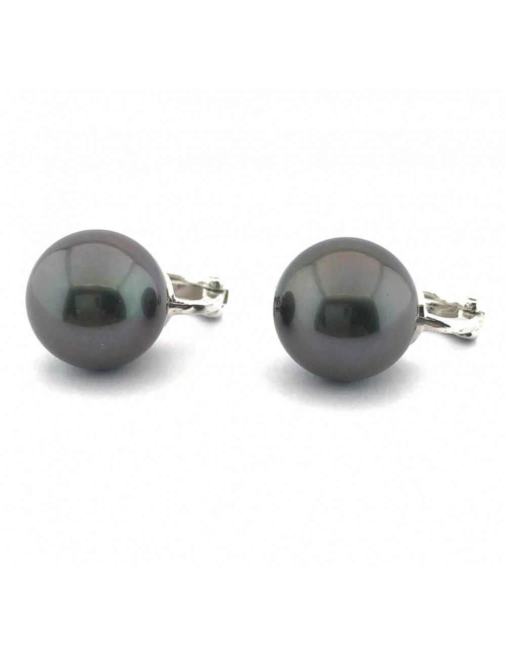 Auskarai su juodais perlais (12mm)