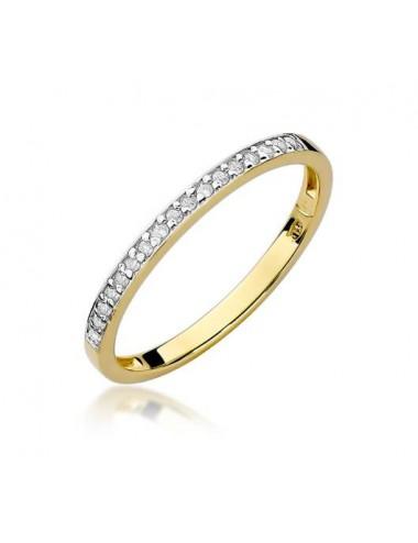 Geltono aukso deimantinė juostelė su 0,09 ct briliantais