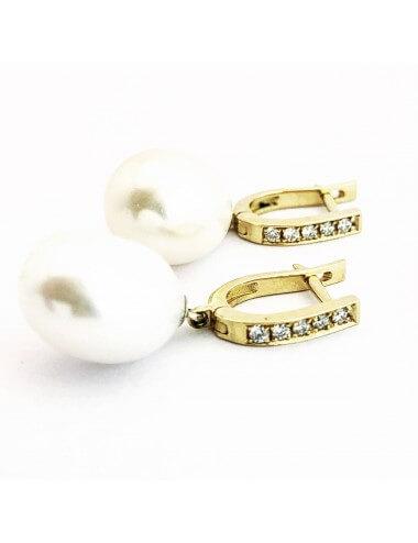 Geltono aukso auskarai su briliantais ir ovalo formos perlais
