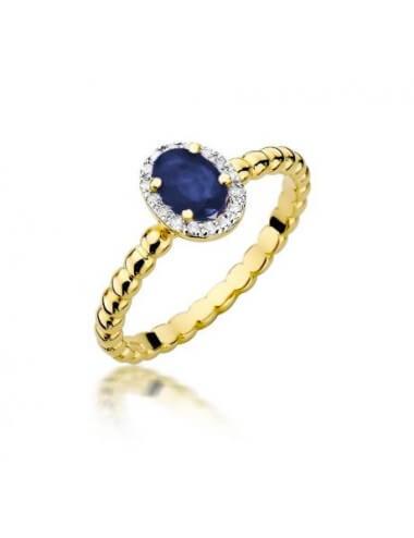 """Sužadėtuvių žiedas """"Prabanga"""" su safyru"""