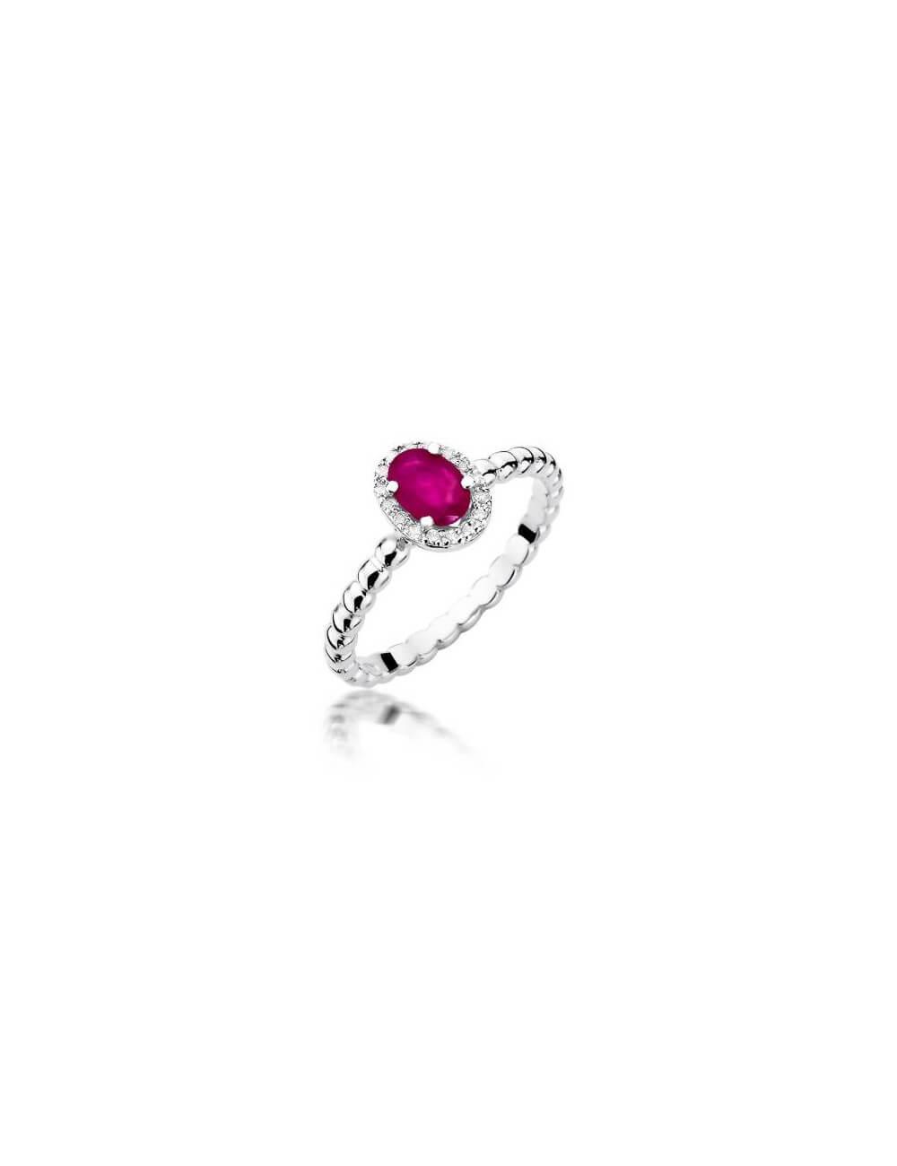 """Sužadėtuvių žiedas """"Prabanga"""" su rubinu"""