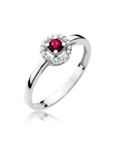 """Sužadėtuvių žiedas """"Bučinys"""" su rubinu"""