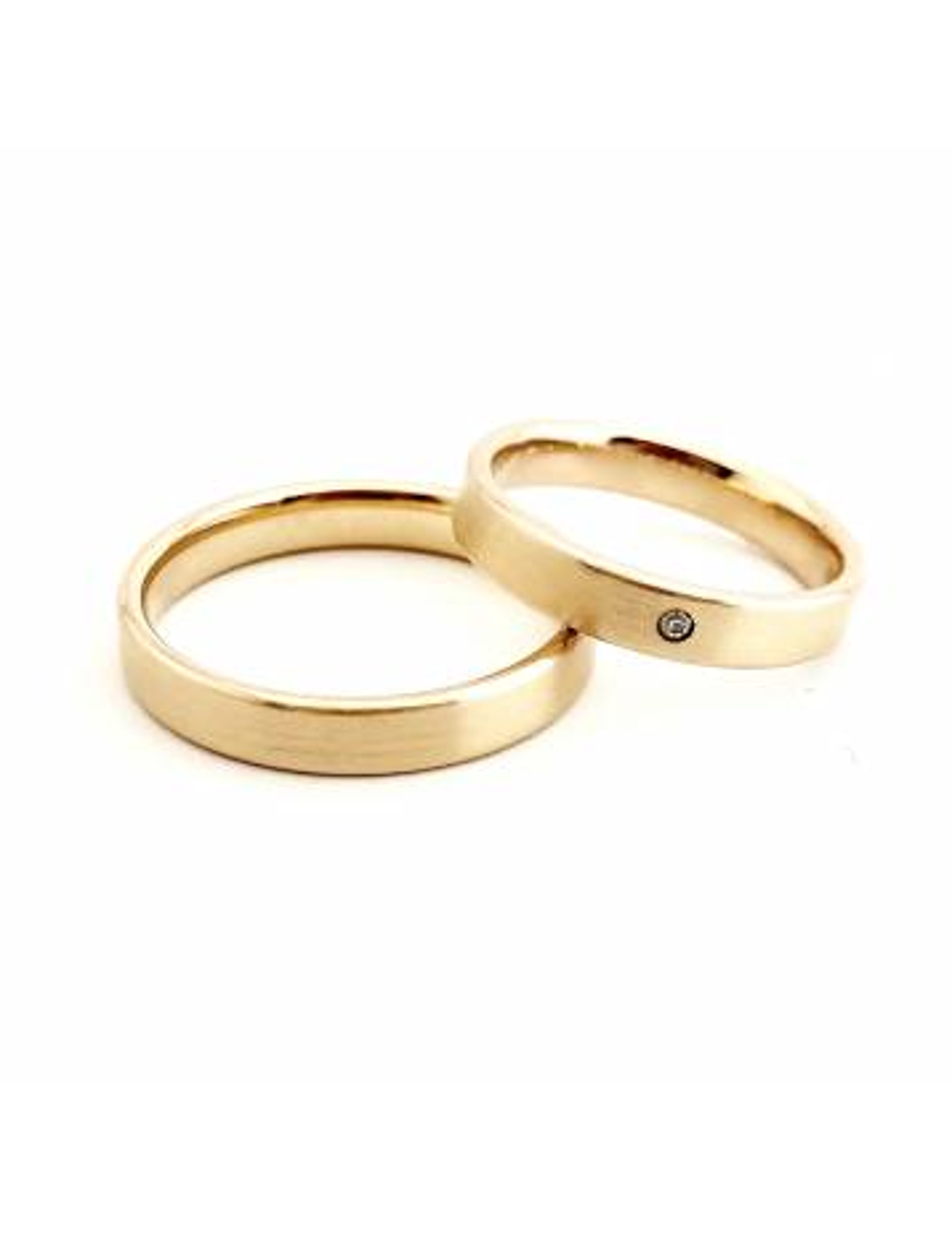 "Vestuvinis žiedas ""Moderni klasika 2020"" 3,5 mm su deimantu GAMYBA"