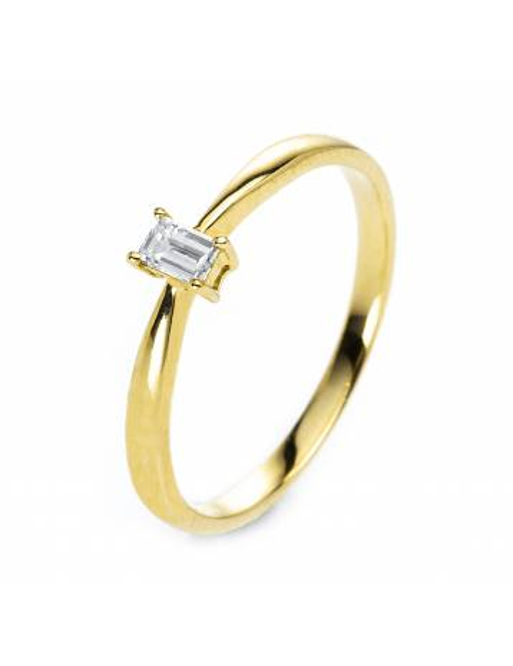 Sužadėtuvių  žiedas su smaragdo formos briliantu  (16,5 dydį turime salone)