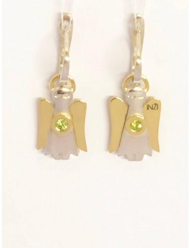 """Sidabro su aukso detalėmis auskarai """"INGRID INŽI"""" papuošalų kolekcija."""