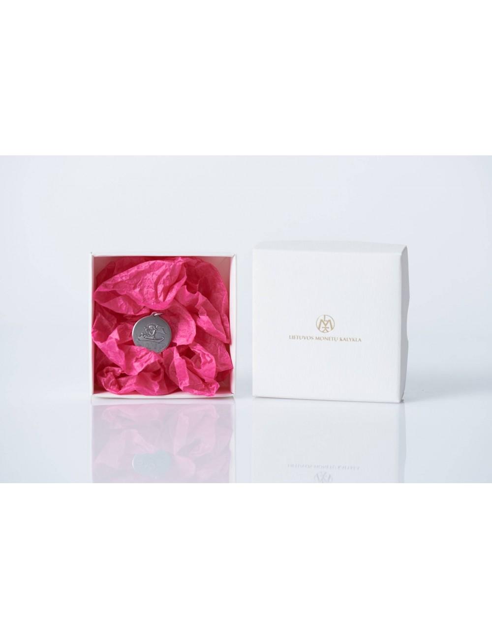 Medalis (medalionas) angelas (baltoje dėžutėje, rožiniu popieriumi)